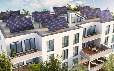 Solar pannels on the roof of the house