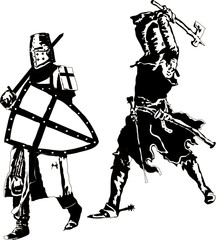 Two knights Templar Vector