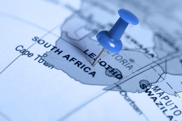 Foto op Plexiglas Zuid Afrika Location South Africa. Blue pin on the map.