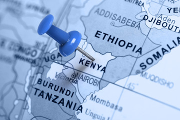Location Kenya. Blue pin on the map.