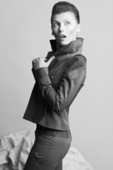 Art fashion concept. Androgynous model with short hair