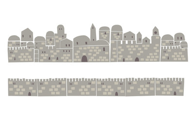 Holy City, Middle East Town, Vector illustration