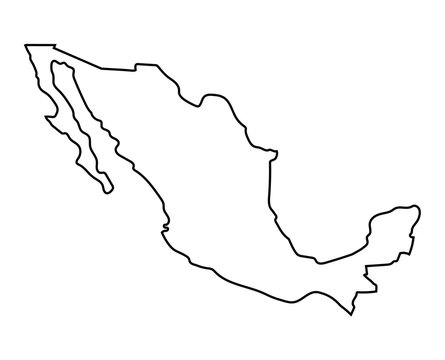black outline of Mexico map