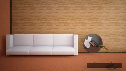 Top view of an interior rendering of a living room with textures