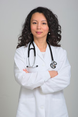 Asian female doctor with stethoscope