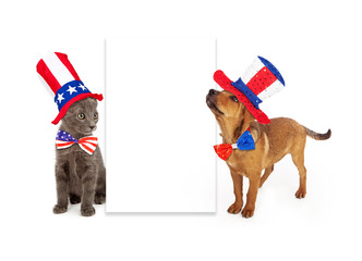 Wall Mural - Patriotic Puppy and Kitten Blank Sign