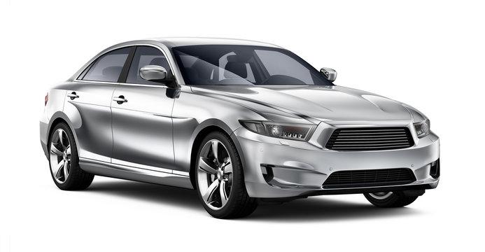 Modern generic car on white background