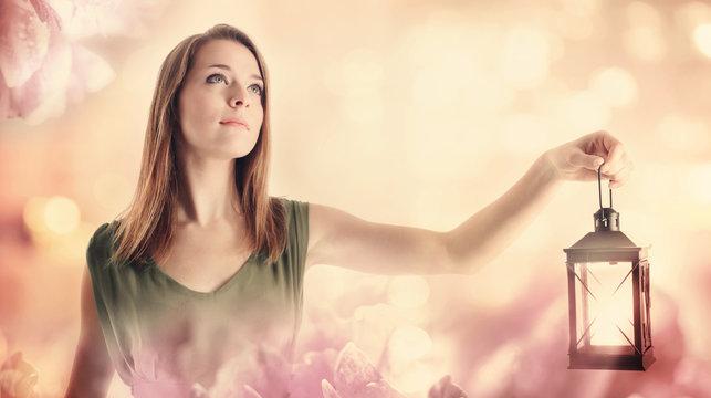 Young Woman Lighting the Way