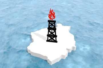 gas rig model on ice platform in ocean