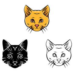 Coloring book Cat Head cartoon character