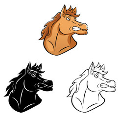 Coloring book Horse Mascot cartoon character