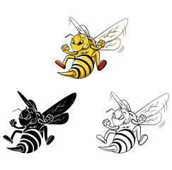 Coloring book Bee cartoon character