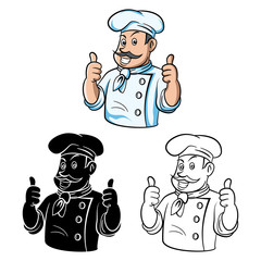 Coloring book Chef Thumb Up cartoon character