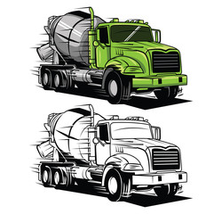 Coloring book big truck cartoon character
