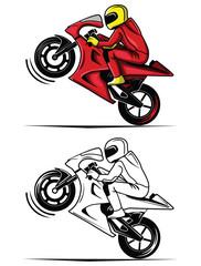 Coloring book moto race cartoon character