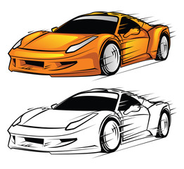 Coloring book Sport Car cartoon character