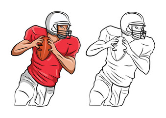 Coloring book FootBall American cartoon character