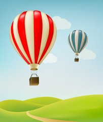 Retro background with colorful air balloons and green land. Vect