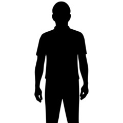 Silhouette man isolated on white background