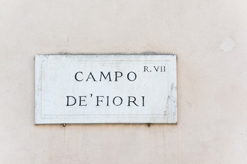 Campo de Fiori sign of famous street market in Rome