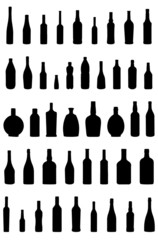 Set of silhouettes of bottles