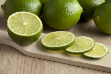 Fresh green limes slices