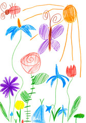 spring landscape with butterfly and flowers. child drawing.