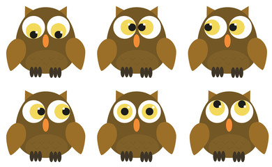 Collection of 6 owl characters