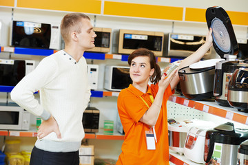 man shopping at home appliance supermarket