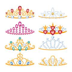 Set of beautyful golden tiaras with gemstones.