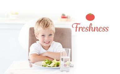 Freshness against portrait of a little boy eating