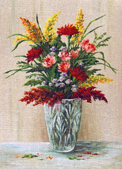 Painting Flowers in a Crystal Vase