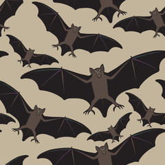 Vector seamless halloween pattern with bat