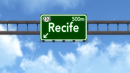 Recife Brazil Highway Road Sign