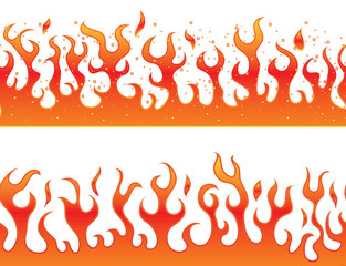 Flames on a white background - continuous curb
