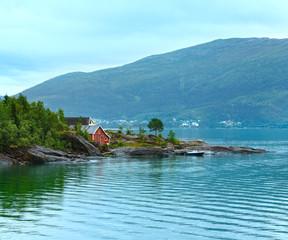 Garden Poster Scandinavia Fjord summer cloudy view (Norway)