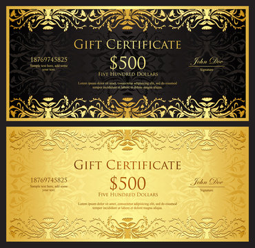Luxury golden gift certificate in vintage style