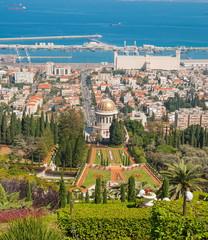 View of park and  port city of Haifa, Mount Carmel