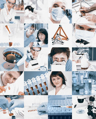 Scientists in laboratory, collage