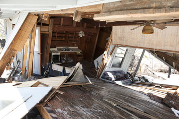 interior of flood damaged home