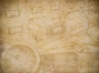 Wall Mural - Archive or museum worn paper background