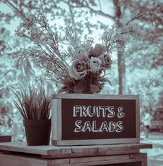 Outdoor menu blackboard in vintage effect