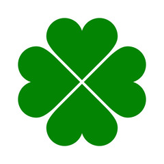 Clover with four leaves icon. Saint Patrick symbol