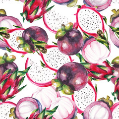 watercolor dragon fruit and mangosteen pattern