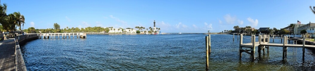 Panorama view of Florida ocean inlet with Lighthouse
