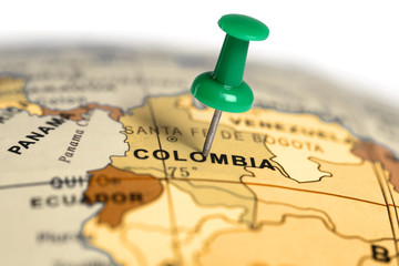 Location Colombia. Green pin on the map.