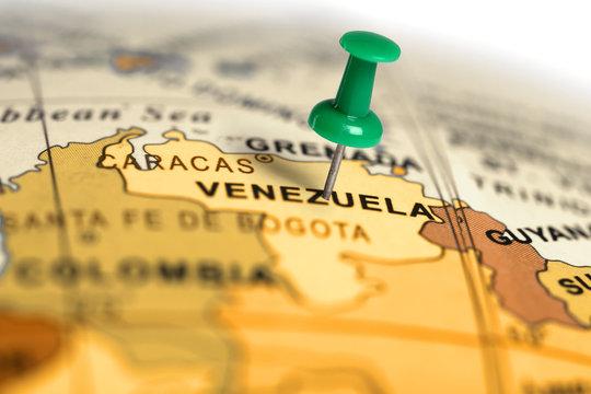 Location Venezuela. Green pin on the map.