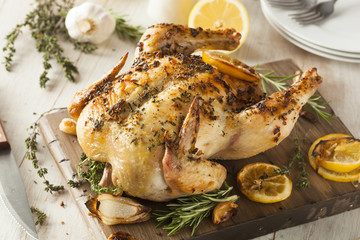 Wall Mural - Homemade Lemon and Herb Whole Chicken
