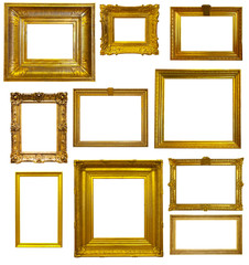 Set of old gold frames. Isolated over