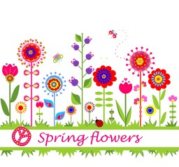 Spring flowers. Seamless border